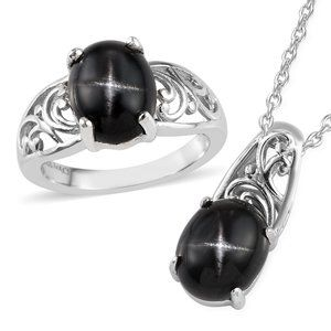 6.90ctw Black Star Diopside Ring sz8 & Necklace
